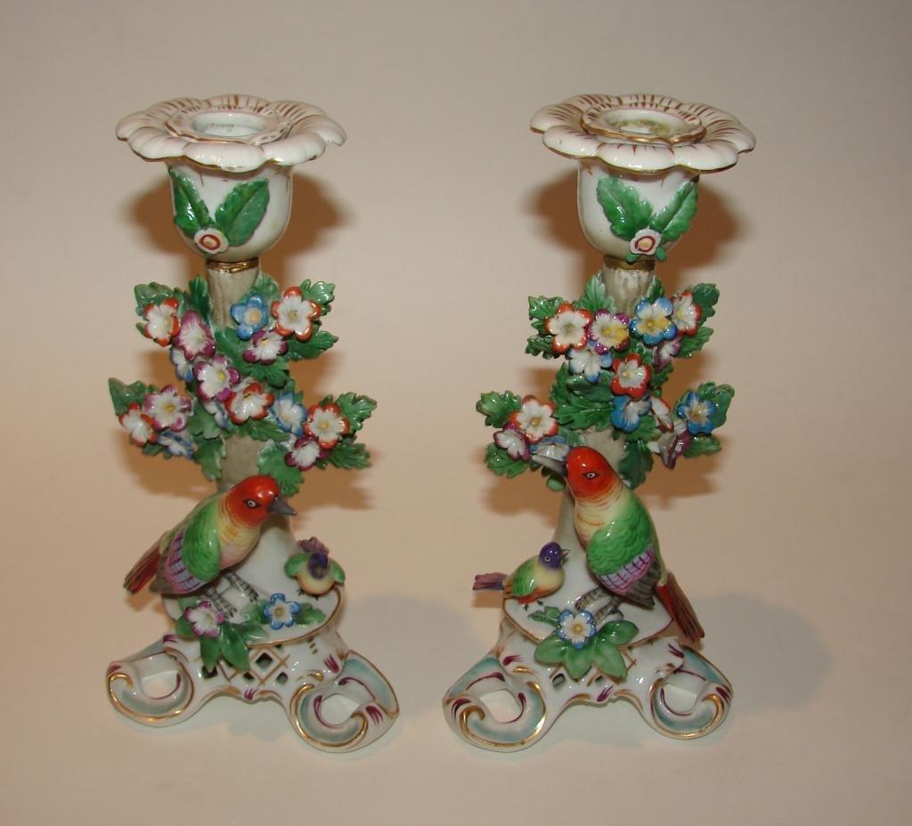 Pair (2) of Chelsea Porcelain Candlesticks.