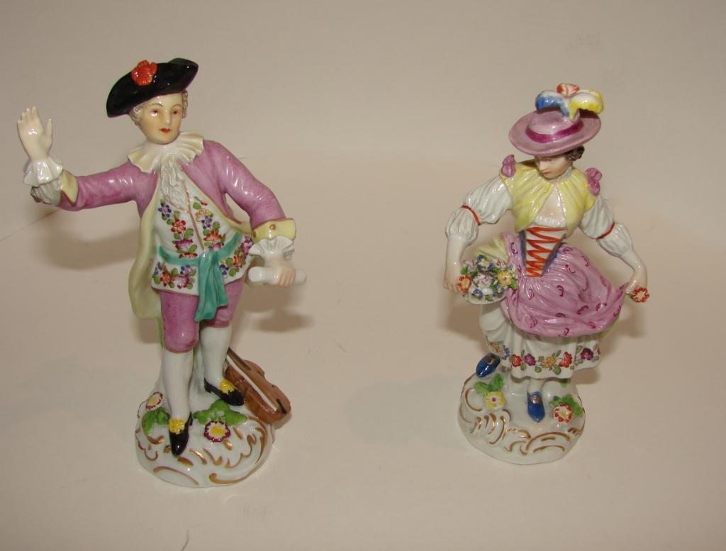 Pair (2) of Porcelain Figurines, English.  20th C.