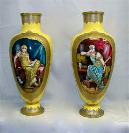 Pair (2) of Porcelain Vases.  Signed V. Peccatte.
