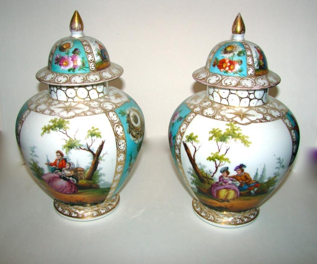 Pair (2) of Dresden Porcelain Covered Ginger Jars.