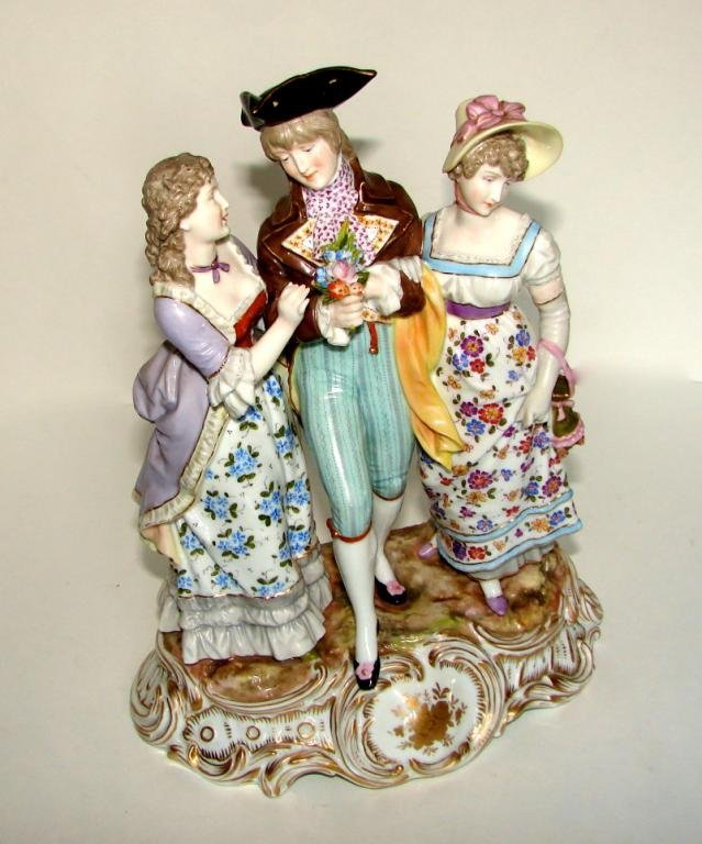 Dresden Porcelain Figural Group. Gentleman Ladies.