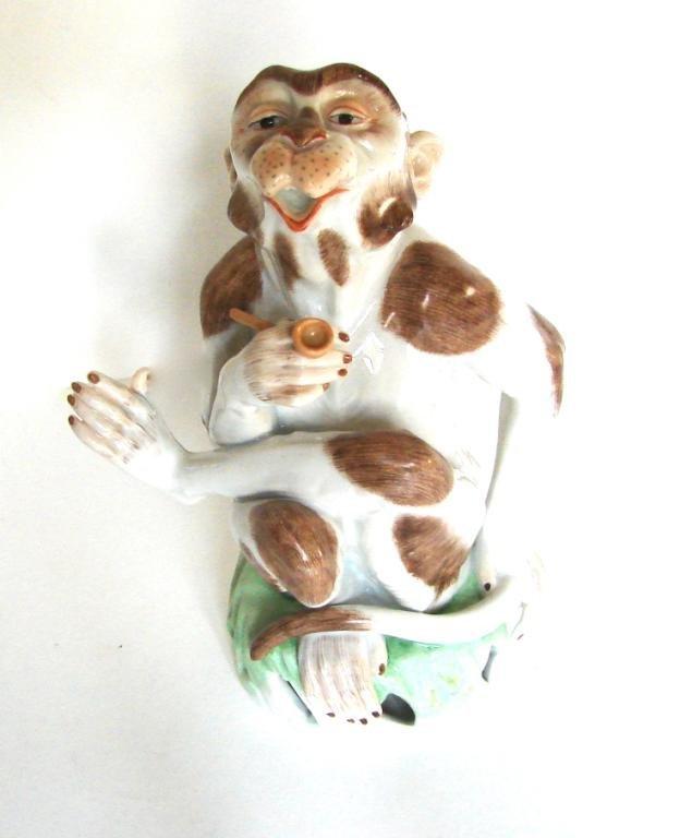 Dresden Porcelain Figurine. Smoking Monkey. 20th C.