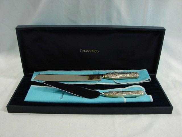 Tiffany & Co. Sterling 2 piece Cake Knife Set.
