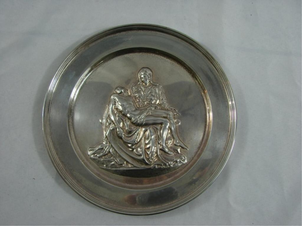 British Sterling Silver Cabinet Plate - Pieta