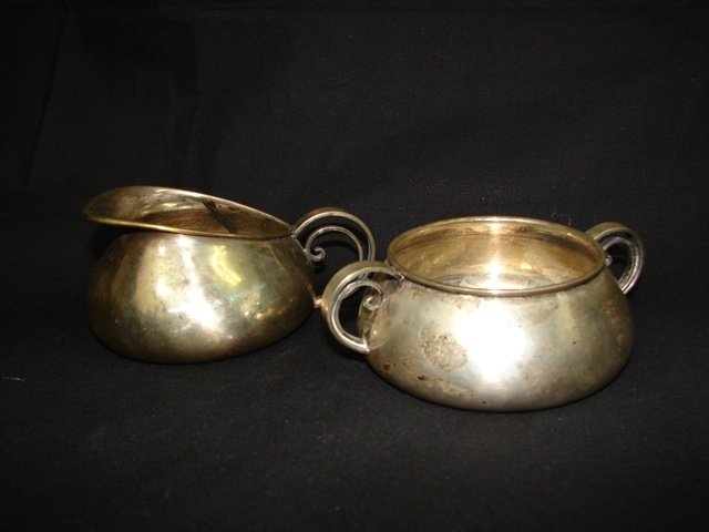 Danish Sterling Silver Open Creamer and Sugar Bowl