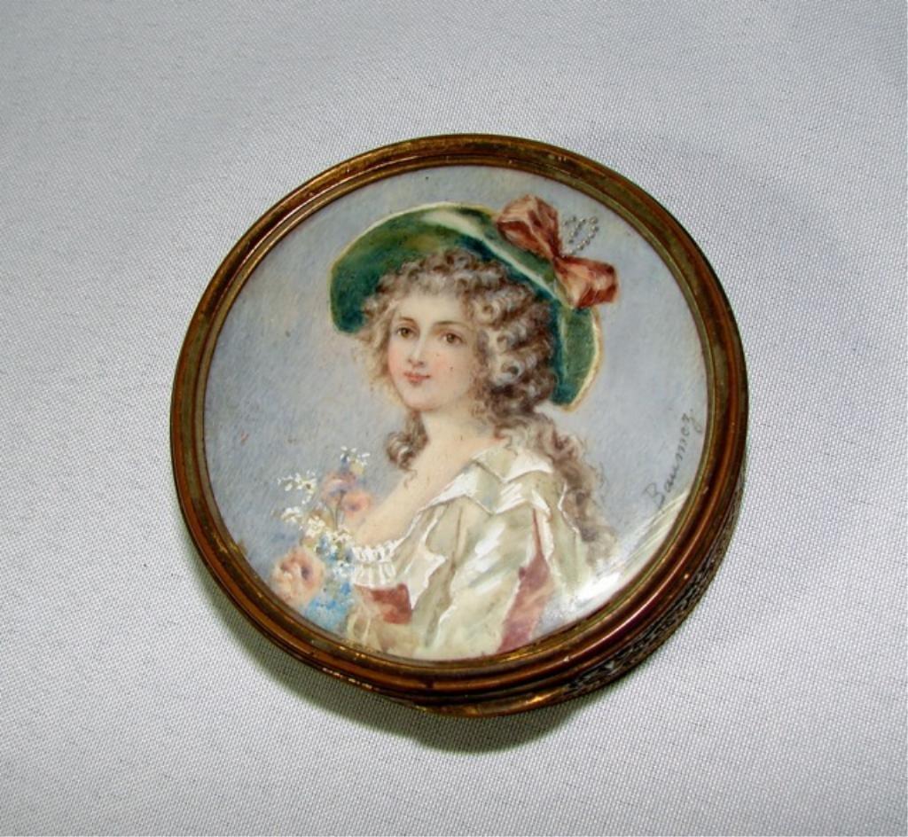 Brass and Miniature Ivory Portrait Trinket Box.