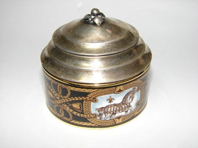 Hermes Enamel and Sterling Silver Covered Box.