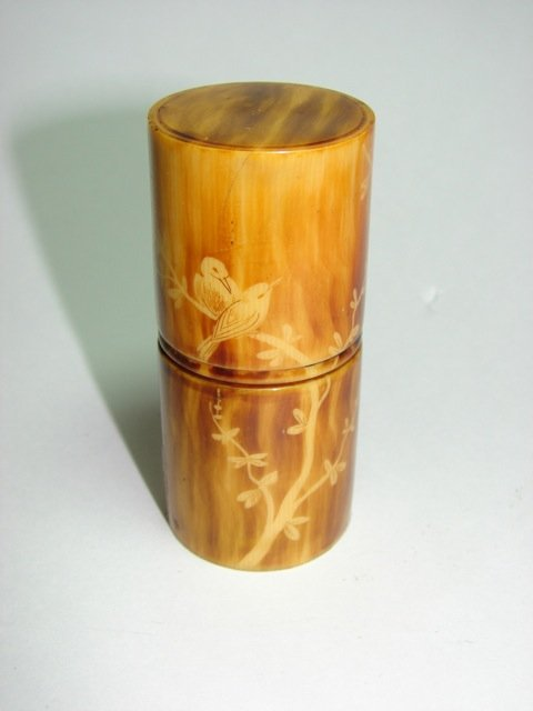 Three Crystal Perfumers in Carved Ivory Case.