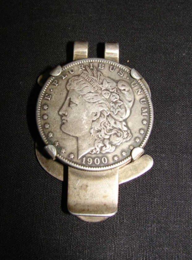US Silver Dollar money Clip, C. 1900.