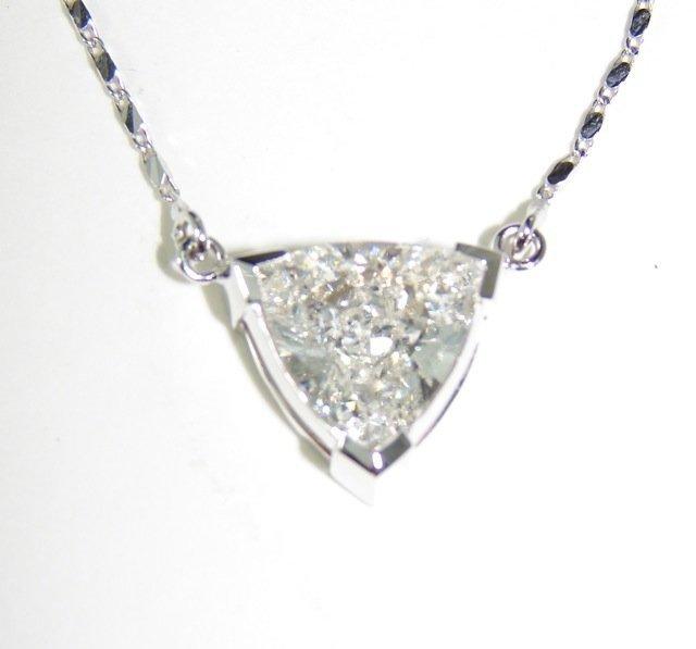 3.19 Trillion Cut Diamond Pendant Necklace.