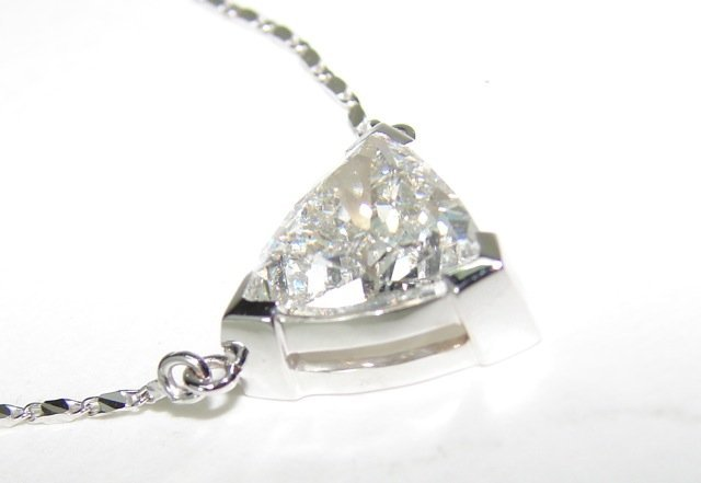 3.19 Trillion Cut Diamond Pendant Necklace. - 2