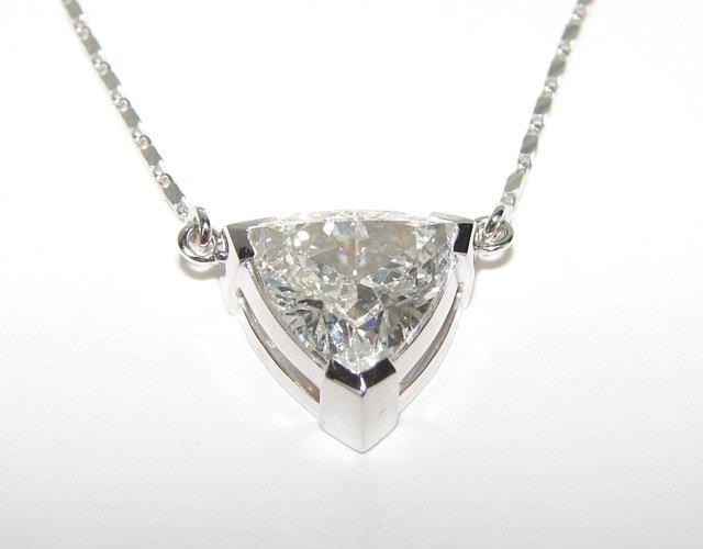 3.19 Trillion Cut Diamond Pendant Necklace. - 3