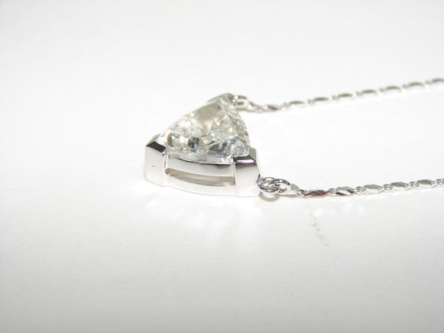 3.19 Trillion Cut Diamond Pendant Necklace. - 4