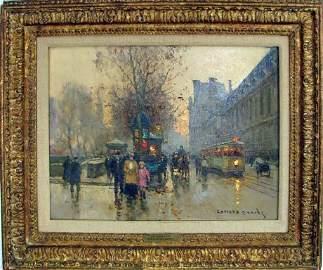 "Edouard Cortes, Original  Oil, ""Le Louvre"""