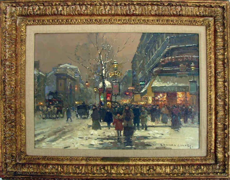 """Edouard Cortes, Original Oil, """"""""Soir de Hiver"""""""