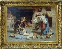 "Eugenio Zampighi, ""Family Kitchen"", Signed."
