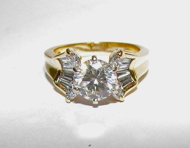 14K Yellow Gold Diamond Engagement Ring, 1.65 Carat