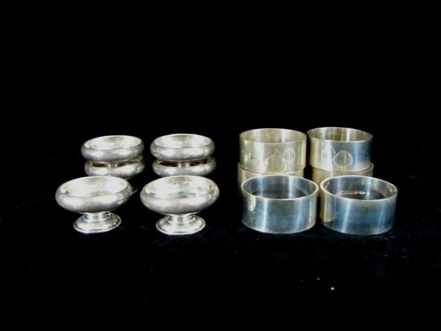 4 Sterling Salts, and 4 Napkin Rings