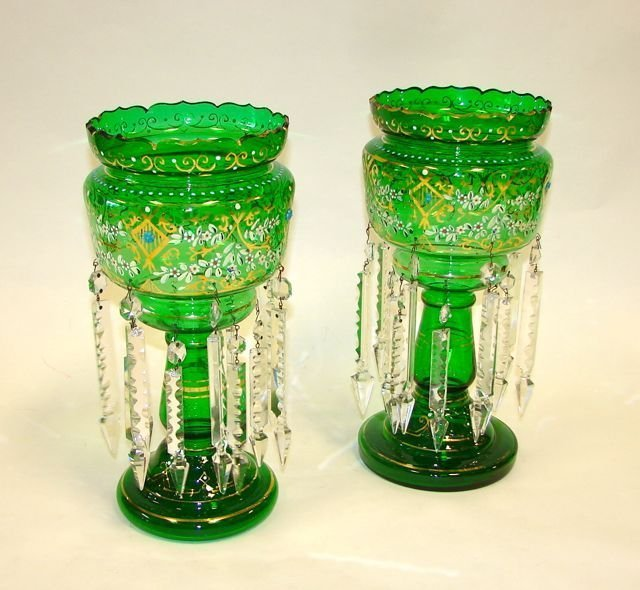 Pair (2) Victorian Green Glass Crystal Lusters