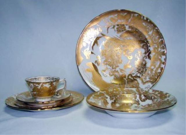 70 Piece Royal Crown Derby China, Gold Aves