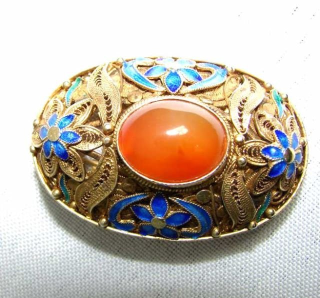 Chinese Export Brooch Pendant, Silver