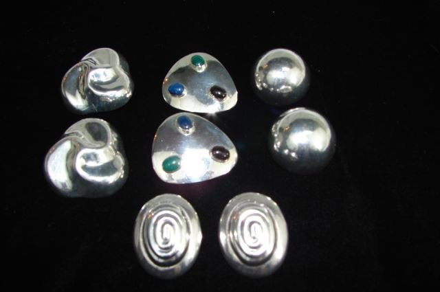 Four Pair Mexican Sterling Clip Earrings