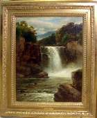 Oil Painting- Waterfall, Wales, John B. Smith '71