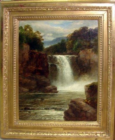 Oil Painting- Waterfall, Wales, John B. Smith '71