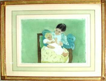 "Mary Cassat  Drypoint/Aqua, ""The Barefoot Child"""