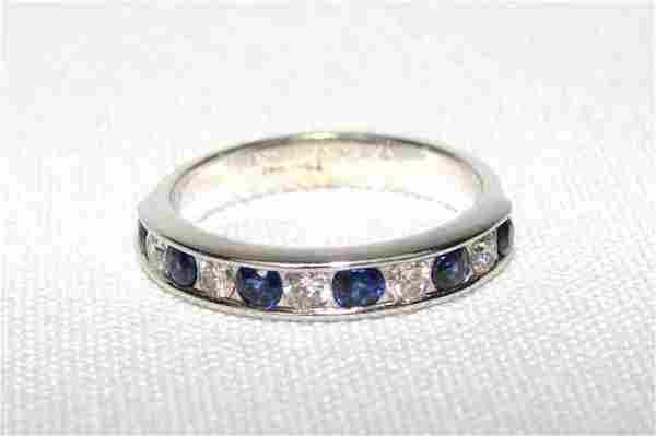 14K White Gold Diamond/Sapphire Ring