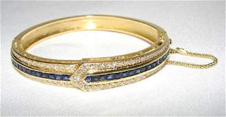 18K Yellow Gold Sapphire/Diamond Bracelet