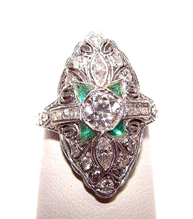 Platinum Diamond Emerald Art Deco Ladies Ring