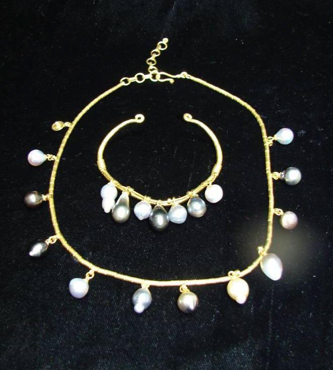 Gurhan 24K Yellow Gold Pearl Neclace/Bracelet