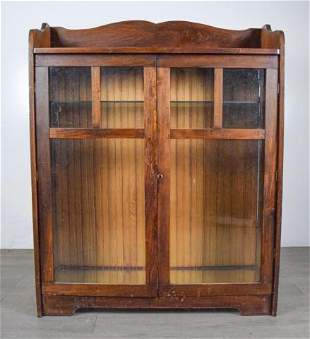 Arts and Craft Oak Cabinet Bookcase