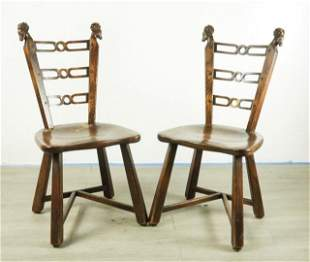 Pair of Walnut Chairs with Rams Heads