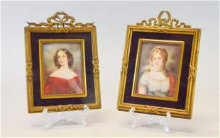 Pair of Hand Painted Miniature Portraits of Ladies