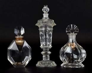 3 Baccarat Crystal Perfume Bottles