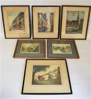6 European Street Scene Engravings & Prints