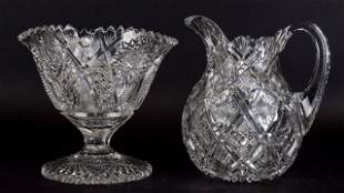 2 Pieces of American Brilliant Cut Glass