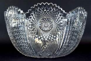 American Brilliant Cut Glass Punch Bowl