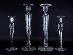 2 Pair Engraved Glass Candlesticks