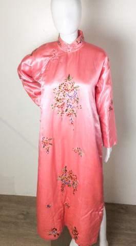 Antique Silk Korean Pink Hand Embroidered Robe