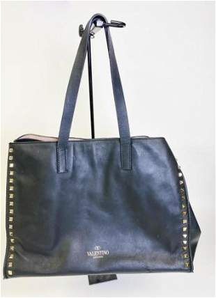 Valentino Garavani Black Leather Rock Stud Tote