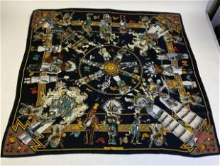 Hermes Vintage Silk Scarf Kachinas by K Oliver