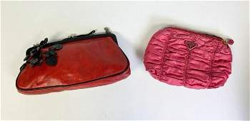 2 Small Prada Handbags Red Black Flowers and Pink