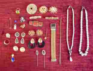 Costume Jewelry Grouping With Enameled Box