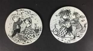 Pair of Bjorn Winblad Porcelain Plaques