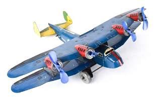 Marx Toys Tin Litho Wind-Up Airplane U.S. Mail TWA