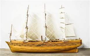 Large Wooden Clipper Ship Model