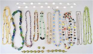 Grouping of Glass and Stone Bead Necklaces